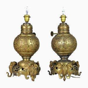 Japanische Elefanten Tischlampen aus Bronze, 19. Jh., 2er Set