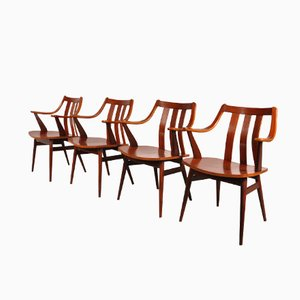 Dutch Curved Teak Dining Chairs, Set of 4