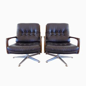 Black Leather Chair by Eugen Schmidt for Solo Form, Set of 2