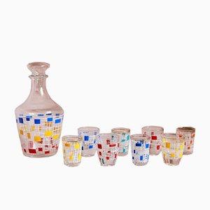 French Coriandoli Drinkware Set, 1950s, Set of 9
