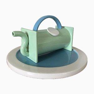 Tetera y plato de cerámica de Marco Zanini para Bitossi. Juego de 2