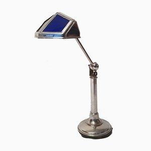 Art Deco Glas & Aluminium Schreibtischlampe von Pirouett, 1930