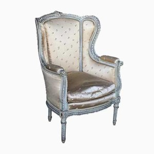 Vintage French Upholstered Bergere Armchair