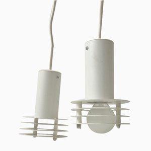 Dänische Minimalistische Weiße Deckenlampen von Lyfa, 1980er, 2er Set