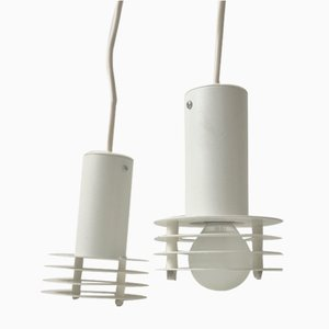 Danish Minimalist White Ceiling Lamps from Lyfa, 1980s, Set of 2