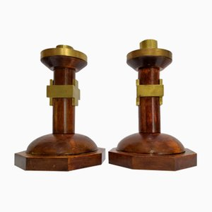 Art Deco Wood and Brass Sconces, 1920s, Set of 2