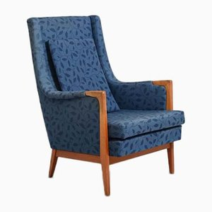 Vintage Scandinavian Blue Teak Model F122 Armchair