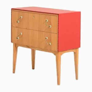 Scandinavian Red Leather & Wood Commode, 1960s