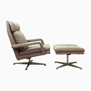 German Chrome & Fabric Lounge Chair with Ottoman from Hans Kaufeld, 1960s, Set of 2