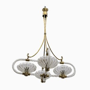 Italian Art Deco Murano Glass and Brass Chandelier by Ercole Barovier for Barovier & Toso, 1930s