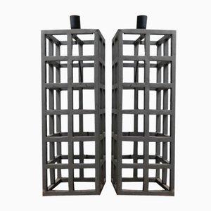 Deutsche Geometrische Vintage Metall Tischlampen, 2er Set