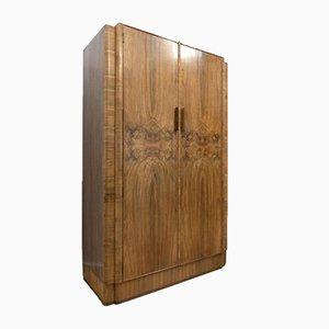 Antike Art Deco Wurzelholz Kleiderschrank aus Nussholz