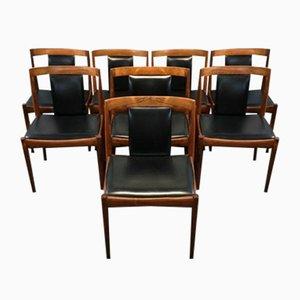 Sedie da pranzo in palissandro di Kai Kristiansen, anni '60, set di 8