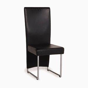 Sedia in pelle nera di Rolf Benz