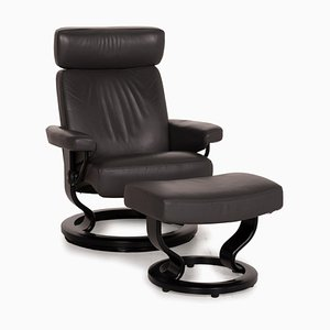 Orion Leather Stressless Armchair with Ottoman, Set of 2