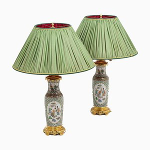 19th Century Canton Porcelain and Gilt Bronze Lamps, Set of 2