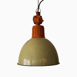 Ukrainian Industrial Green & Orange Lamp