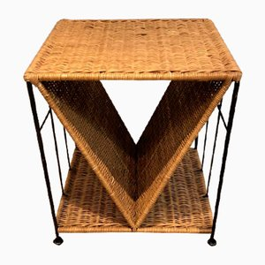 French Rattan and Black Metal Side Table, 19701