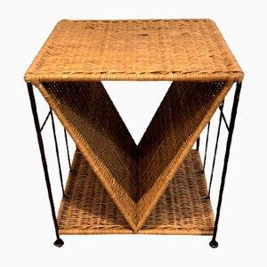 Tavolino in vimini e metallo nero, Francia, 19701
