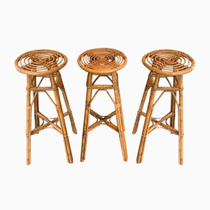 French Rattan Stools, 1970s, Set of 3