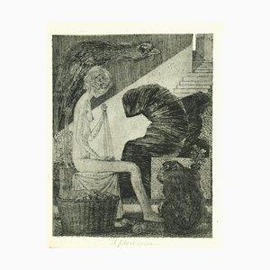 Leo Guida - Il Filo Si Spezza - Original Etching on Paper - 1970s