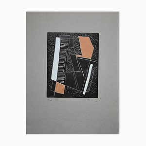 Alberto Magnelli - Abstract Brown Composition - Original Woodcut - 1970s