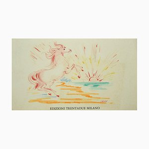 Aligi Sassu - Horse at Sunset - Original Pastel Drawing - 1970