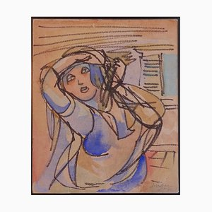 Mino Maccari - Woman - Original Charcoal and Watercolor Drawing on Paper - 1952