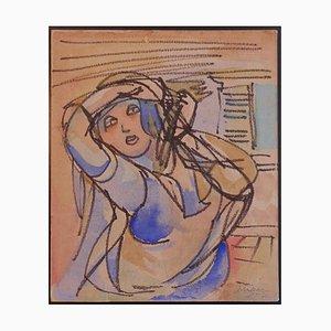 Mino Maccari - Woman - Original Kohle und Aquarell Zeichnung auf Papier - 1952