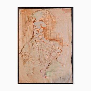 Mino Maccari - Woman - Original Aquarell Zeichnung - 1950er Jahre