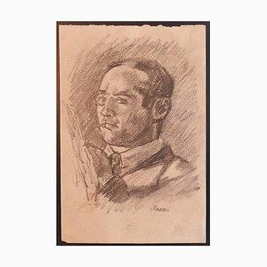 Mino Maccari - Autorretrato - Dibujo original a carboncillo - 1929