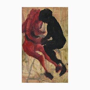Mino Maccari - Couple in Love - Original Tempera von Mino Maccari - 1970er
