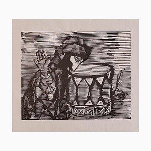 Mino Maccari - Man - Original Woodcut on Paper - Early 20th Century