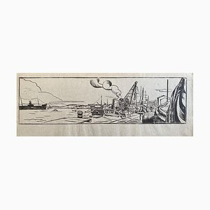 In the Port - Original Woodcut - Early 20th Century