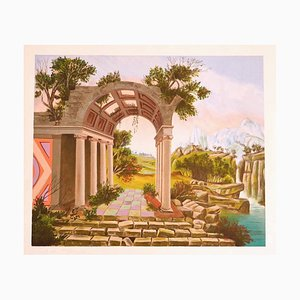 Landscape with Ruins - Original Lithograph - Late 20th Century