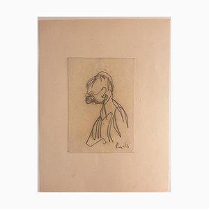 Antonio Vangelli - Portrait - Original Pencil Drawing on Paper - 1940s