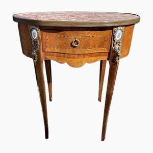 Antiker französischer Konsolentisch aus Marmor und Satinholz
