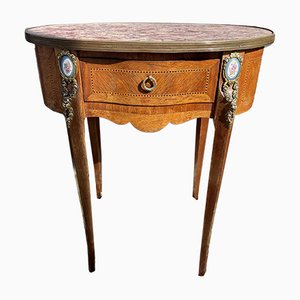 Antique French Marble Satinwood Console Table