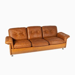 Mid-Century Cognac Leather Sofa by Svend Skipper, 1970s