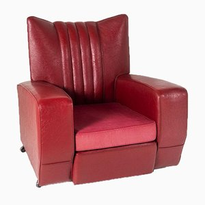 Art Deco Red Rexine Armchair by Rain