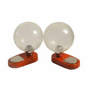 Lámparas de mesa esféricas de vidrio de Hillebrand, 1965. Juego de 2