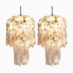 Weiße Murano Glas Torciglione Kronleuchter von Elco, 1960, 2er Set