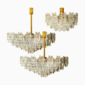 Brass and Glass Chandeliers by J.T. Kalmar for Cor, Set of 3