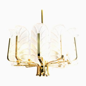 Large Glass & Brass Chandelier by Orrefors, 1960s