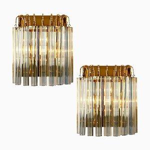 Applique Venini in vetro di Murano e ottone dorato con striscia grigia, Italia, set di 2