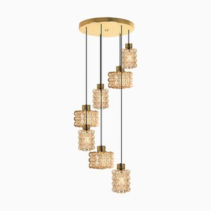 Large Cascade Light Fixture With Seven Pedant Lights by Helena Tynell, 1970s From Cor