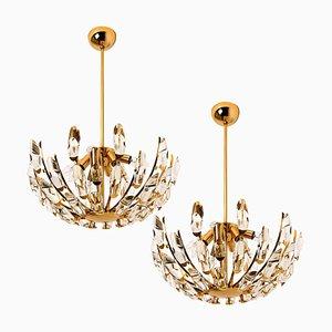 Italian Stilkronen Crystal and Gilded Brass Light Fixtures from Elco, Set of 2