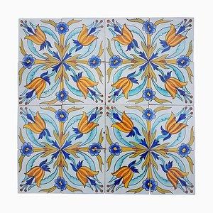 Piastrelle antiche in ceramica fatte a mano di Devres, Francia, anni '10