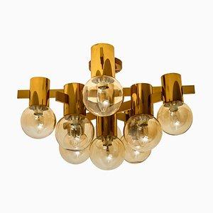 Lampade da soffitto Jakobsson in ottone e vetro di Isa, anni '60, set di 3