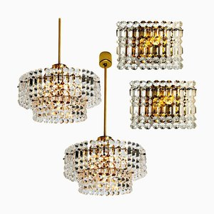 Gold-Plated Crystal Glass Chandeliers for Interna, 1960, Set of 4
